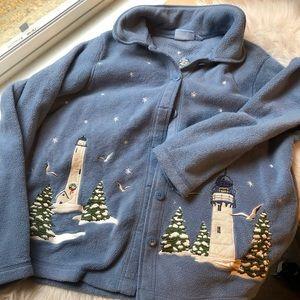 2/35 🍂Christmas holiday lighthouse fleece sweater